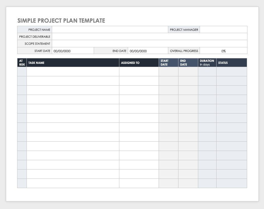 simple project plan